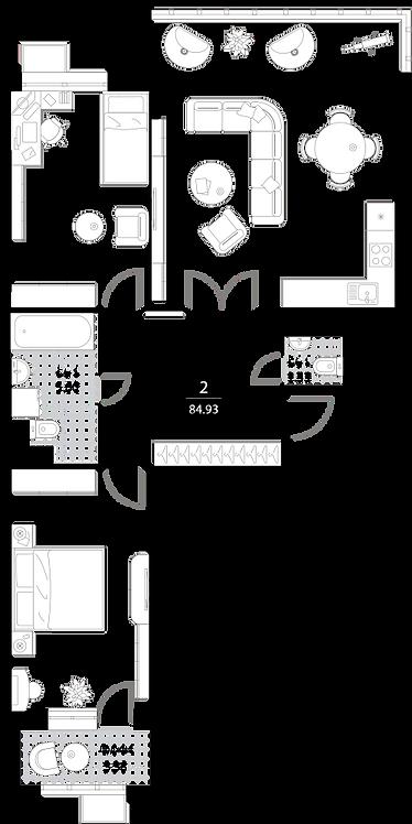 Апартаменты 2 комнаты, 84,93 кв.м