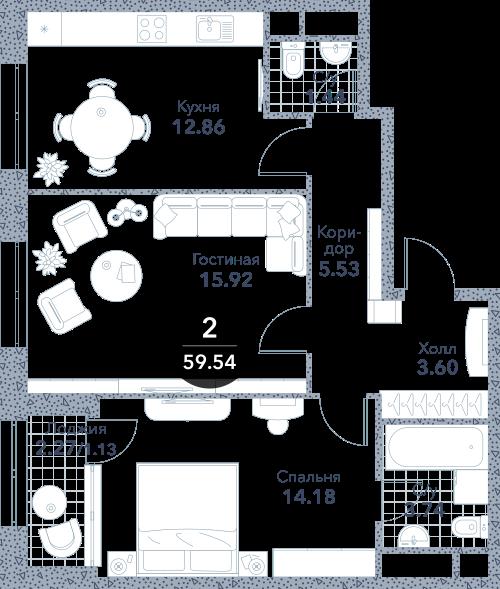 Апартаменты 2 комнаты, 59,54 кв.м