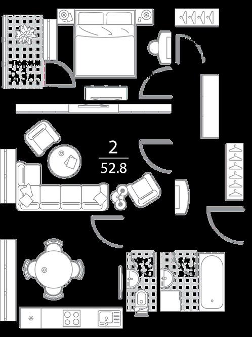 Квартира 2 комнаты, 53,3 кв.м