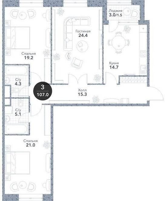 Квартира 3-комнаты, 105.5 кв.м