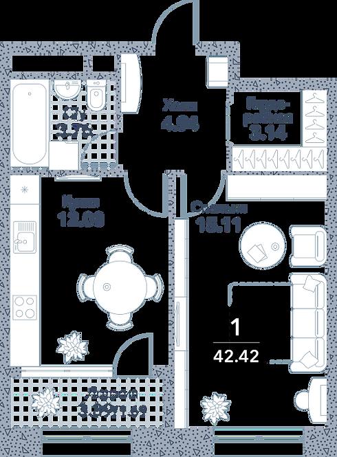 Апартаменты 1 комната, 42,42 кв.м