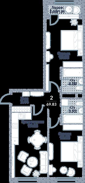Апартаменты 2 комнаты, 69,83 кв.м