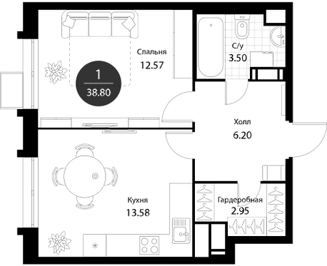 Апартаменты 1 комната, 38,8 кв.м