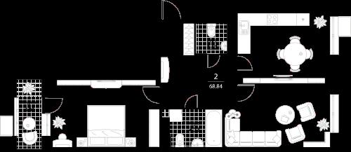 Апартаменты 2 комнаты, 68,84 кв.м