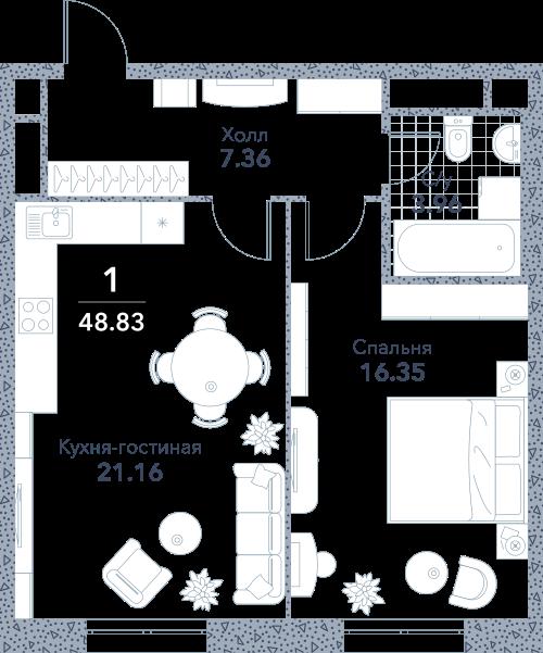 Апартаменты 1 комната, 48,83 кв.м