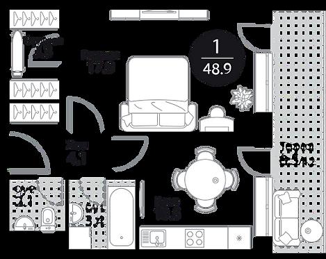 Апартаменты 1 комната, 48.9 кв.м
