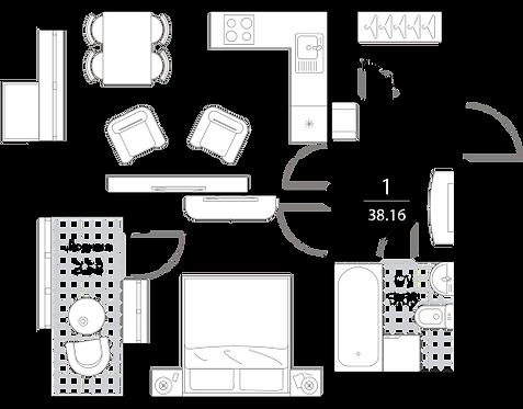 Апартаменты 1 комната, 38,16 кв.м
