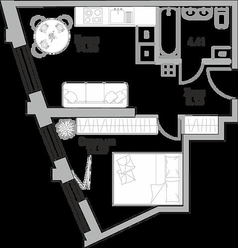Квартира 2 комнаты, 69,45 м2