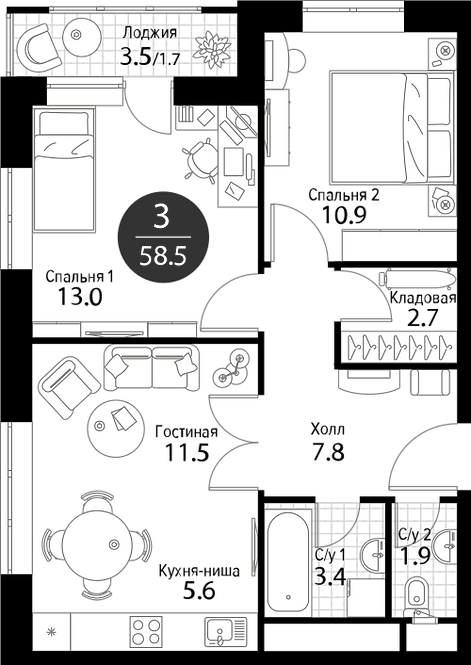 Квартира 3 комнаты, 58.5 кв.м