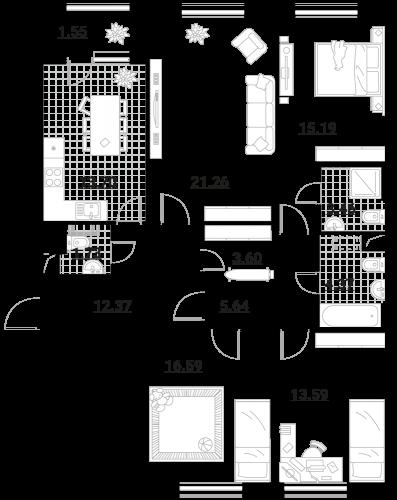Апартаменты 4 комнаты, 112,82 кв.м