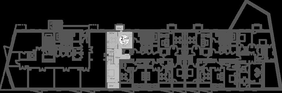 СЧ в Масловке| Квартира 2 комнаты, 73.7 кв.м