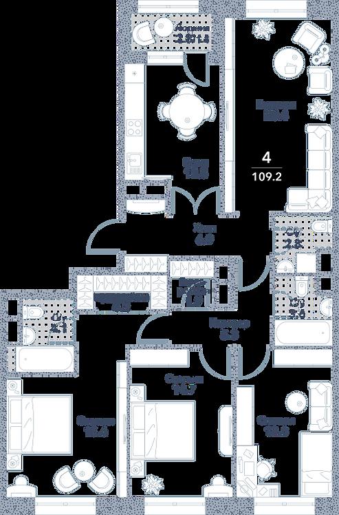 Квартира 4 комнаты, 109.2 кв.м