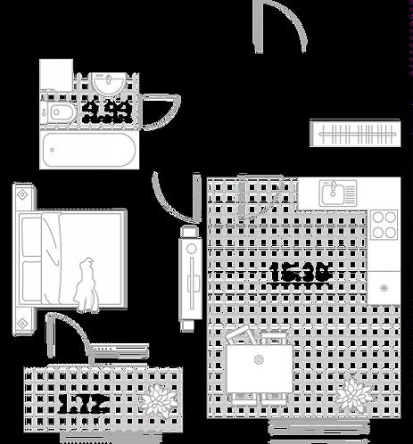 Квартира 1 комната, 37,75 кв.