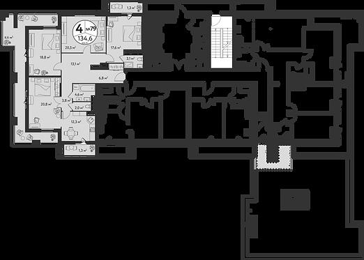 СЧ в Садовниках| Квартира 4 комнаты, 134.6 кв.м