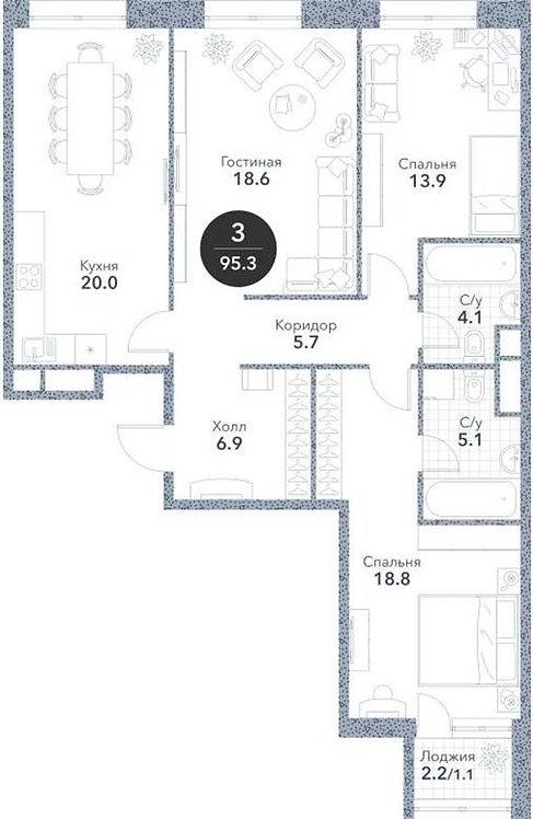 Квартира 3-комнаты, 94,20 кв.м