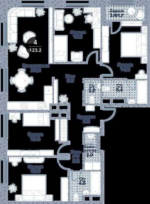Квартира 4 комнаты, 121.5 кв.м
