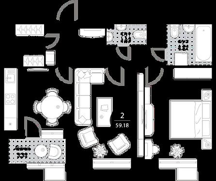 Апартаменты 2 комнаты, 59,18 кв.м