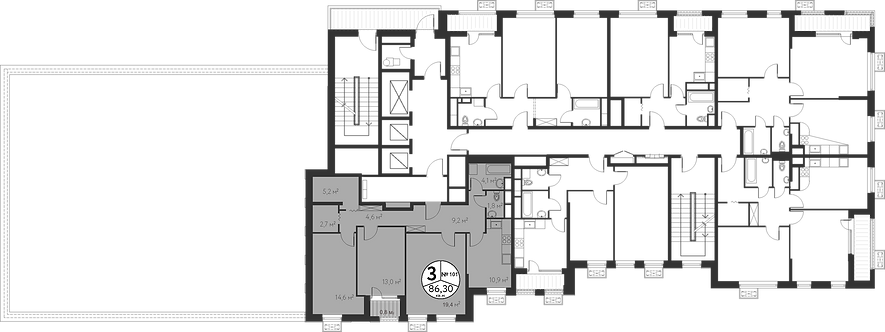 СЧ в Лианозово| Квартира 3 комнаты, 86.1 кв.м
