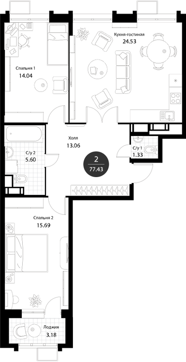 Апартаменты 2 комнаты, 77,43 кв.м