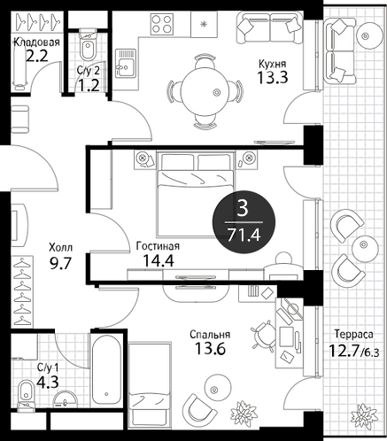 Апартаменты 2 комнаты, 71,4 кв.м