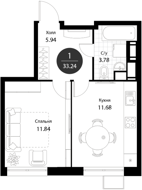 Апартаменты 1 комната, 33,24 кв.м