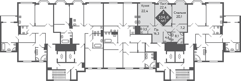 Резиденция на Всеволожском| Квартира 2 комнаты, 104,6 кв.м