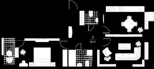 Апартаменты 2 комнаты, 66,31 кв.м