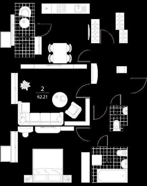 Апартаменты 2 комнаты, 62,21 кв.м