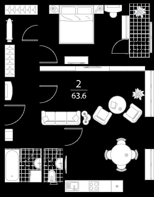 Квартира 2 комнаты, 63.6 кв.м