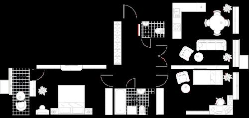 Апартаменты 2 комнаты, 75,78 кв.м