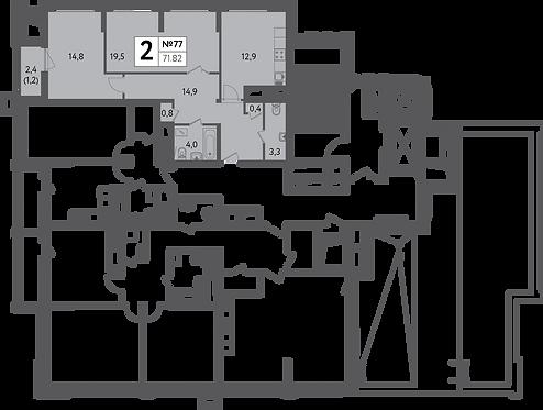 СЧ на Пресне| Квартира 2 комнаты, 71,8 кв.м