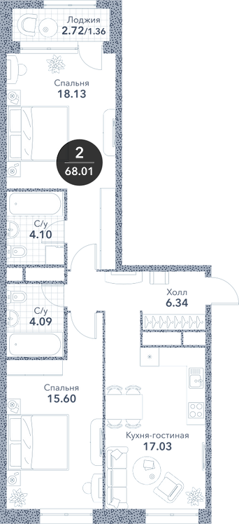 Апартаменты 2 комнаты, 68,01 кв.м