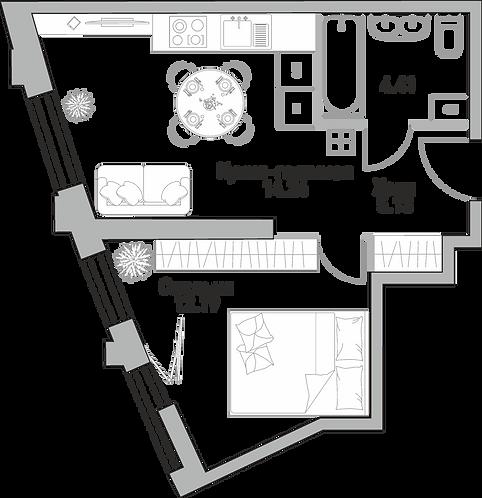 Квартира 2 комнаты, 82.07 м2