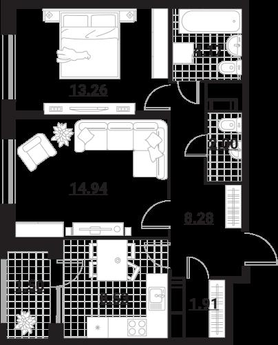 Квартира 2 комнаты, 54,59 кв.