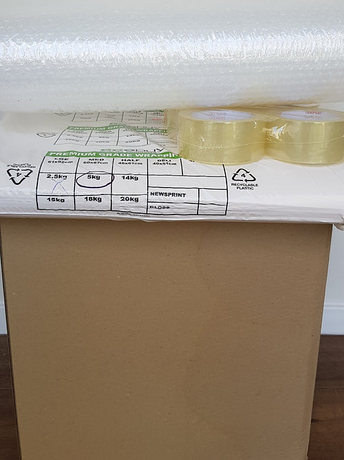 1 Bedroom Bundle Pack - 20 Book boxes, paper, bubble wrap, 2 tape