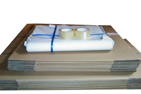 1 1/2 Bedroom Bundle - 10 book box, 10 Tea chest, 5kg paper & 2 tape