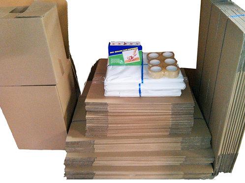 Mega Bundle - 70 boxes, 15kg paper,  Tape dispenser, Tapes, Bubble, Pen