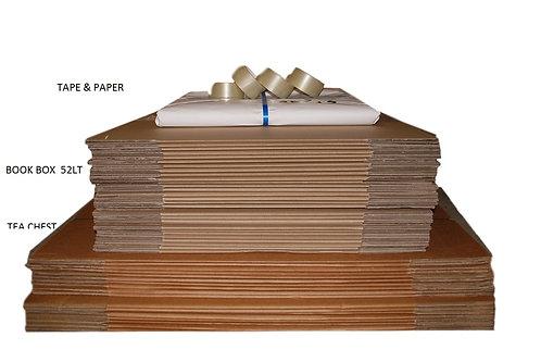 Bundle 3B 50 Boxes (incl 20x104ltTeachest 30x52lt Book) paper & tape