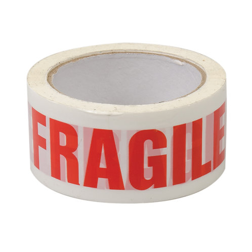 Fragile Tape 48mm x 75mt Roll Red on White Tape
