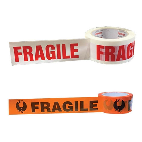 Fragile Tape 48mm x66 mt Roll Black & Orange Fluro Tape