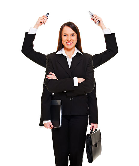 business woman with 6 arms and hands