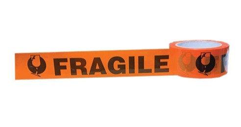 Fragile HWC Tape  48mm x66 mt Roll Black & Orange Tape