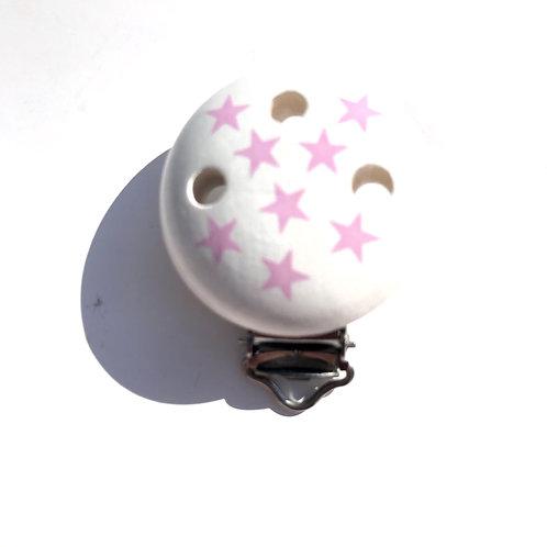 Clip attache tétine blanc étoiles rose pale