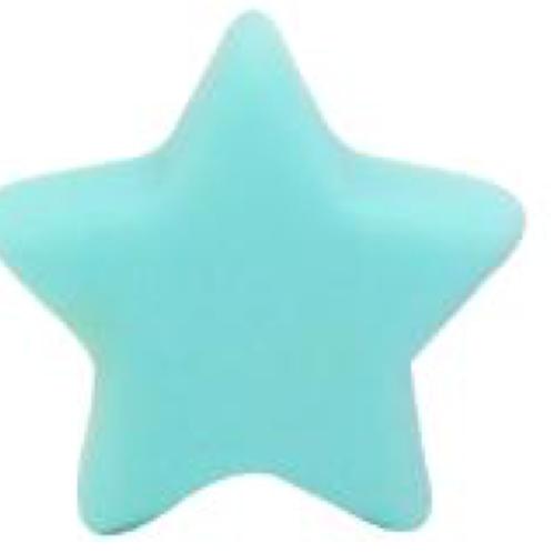 Perle etoile silicone turquoise