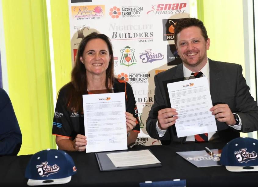 MacKillop Saints join NTRU as new club MacKillop president: David Graham and NTRU CEO: Tamie Needham.