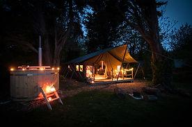 Safari tent with woodfired hot tub