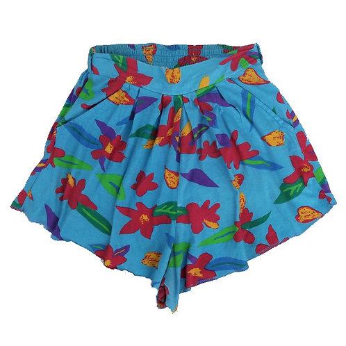 Vintage Blue Floral Colourful Shorts