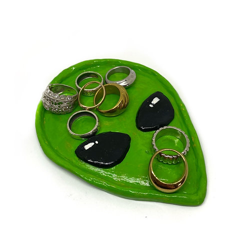 Handmade Clay Alien Head Trinket Ring Dish