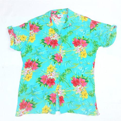 Vintage Aqua Blue Floral Shirt