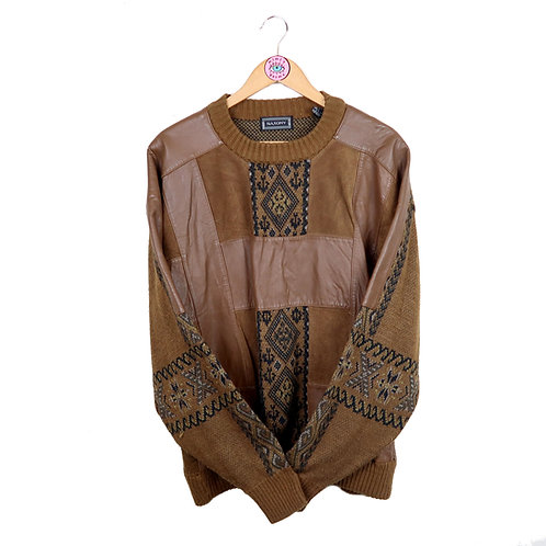 Vintage Retro Leather & Knit Patchwork Sweater